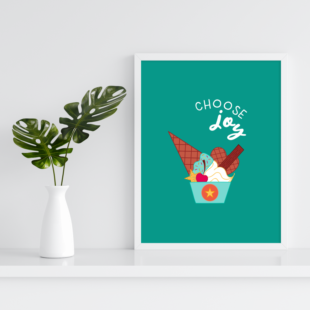 The Unicorn Factory Choose Joy Ice Cream Art Print