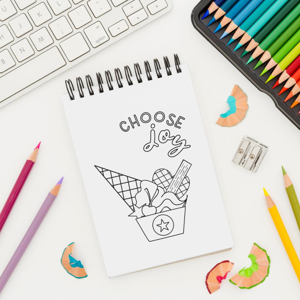The Unicorn Factory Choose Joy Ice Cream Colouring Page