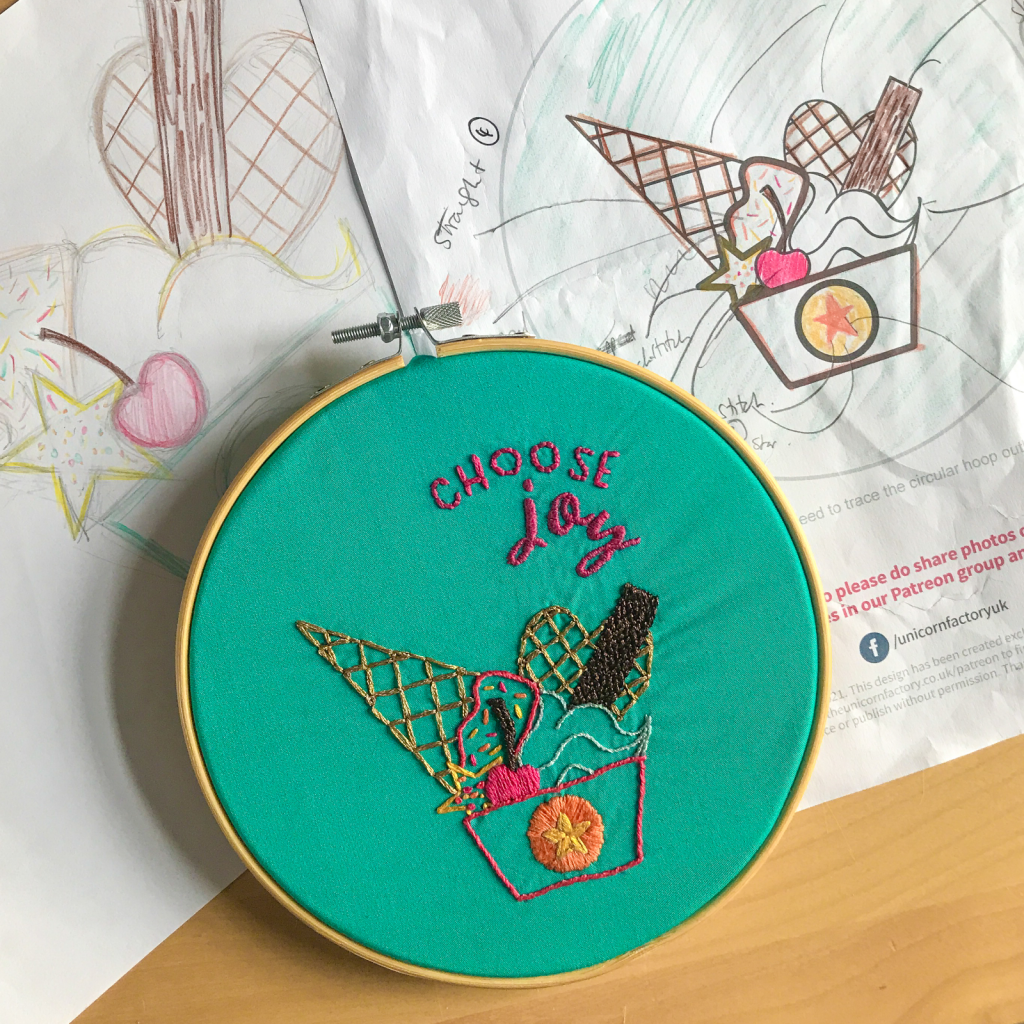 The Unicorn Factory Choose Joy Ice Cream Sketches and Embroidery