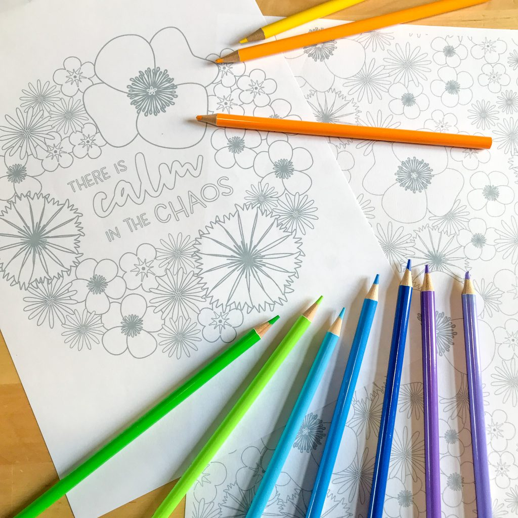 The Unicorn Factory Calm in the Chaos Wildflowers Colouring Pages
